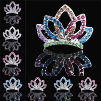 Wholesale diamond hairpin hair clip - Crown Colorful Crystal Girl Hair Comb Kids Headwear Princess Animal Shape Diamond Headbands Children Hair Clips Hair Accessories 120019