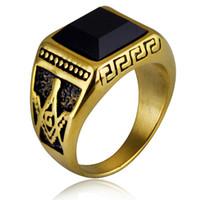 ingrosso anello di onice 18k oro nero-2018 New Fashion Acciaio al titanio Black Onyx Ring 18K Placcato oro Mens Free Mason Master Ring per uomo