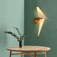 lampes de chambre en laiton antique achat en gros de-LED Oiseau Design Lampe De Chevet Lampe Creative Origami Papier Grue Mur Lumière pour Loft Chambre Étude Foyer Salle À Manger