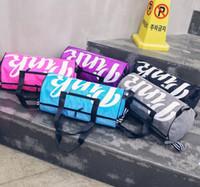 Wholesale handbag three colors - 5 Colors Women Handbags PINK Letter Handbags Large Capacity Travel Duffle Shoulder Bags Striped Waterproof Beach Bag EEA327