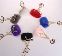 Wholesale Mink Car - 7 Colors Mink Hair Keychain Accessories Korean Number 5 Stars Pearl Car Keyring Shoulder Bag Pendant