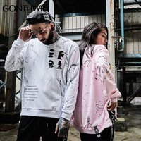 Wholesale white sweatshirt swag - Side Zipper Ribbon Hoodies Inked Graffiti Printed Pullover Sweatshirts Hip Hop Skateboards Oversized Swag Hoodies For Man And Women