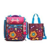 Wholesale School Bag Birds - 2017 children Waterproof nylon school bag 3pcs set brand cartoon flowers and birds pattern school bags for girls kids backpack