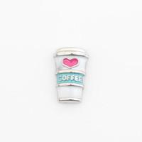 ingrosso fascino della tazza di caffè-Tazza di caffè, ciondoli galleggianti, Fit medaglioni fascino galleggianti, FC1025
