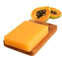 jabones para blanquear la piel al por mayor-Natural Tailandia Papaya verde que blanquea jabón hecho a mano para blanquear el cuidado de la piel Eliminar el acné Hidratante profundo jabón de baño de limpieza 100g