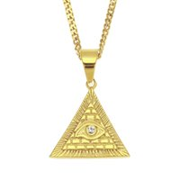 ingrosso collana triangolare della piramide-Nuova moda in acciaio inossidabile placcato oro Austian strass Pyramid Horus Eye Triangle Collana pendente per uomo Donna Collana Hip Hop
