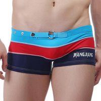 Wholesale mens sexy swim underwear - Womail 2017 new plus size Patchwork Low Waist Sexy Mens Underwear Boxers Trunks Men Boxer Shorts Swimming Pants