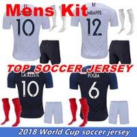Wholesale football soccer equipment - Maillot de Foot enfant world cup football kids equipment ZIDANE Equipe de france 2018 boys football kits francia Soccer Jerseys +socks