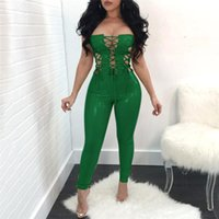Wholesale leather playsuit - 2018 New Fashion Women Light Stretch PU Leather Jumpsuit Lace Up Bodycon Bodysuit Women Party Playsuit Sexy Club Jumpsuit