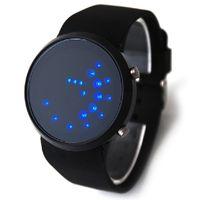 спортивные наручные часы оптовых- New LED Digital Watch Silicone Band Bead Light Mirror Face Sport LED Wrist Watch Woman