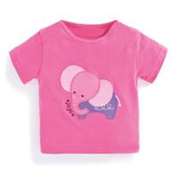 çocuklar fil t shirt toptan satış-Kız Fil Pembe T Shirt Çocuk Giyim Yaz Pamuk T-Shirt Ekip Boyun Fil Sticker Üstleri Çocuk Tee