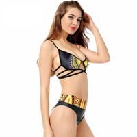 biquíni de renda amarela venda por atacado-Nova Moda Amarelo Terno De Natação Sexy Sólida Rendas Imprimir Elemento Étnico Sexy Hight Qualidade Bikini Swimsuit