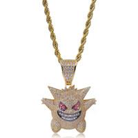 orden de botella de cristal al por mayor-Rhinestone lleno Gengar colgante collar creativo Hip Hop Bling Bling hielo fuera joyería con cadena de 24 pulgadas gratis para hombres regalo