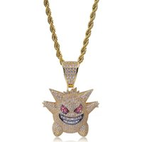 Wholesale Full Rhinestone Gengar Pendant Necklace Designer Hip Hop Jewelry Bling Bling Ice Out Necklace With Inch Chain For Men Gift