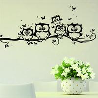 hibou branche murale achat en gros de-Arbre Branche Stickers muraux Super Deal Stickers Wall Art DIY Enfants Autocollant Vinyle Cartoon Hibou Papillon Autocollant Décor À La Maison Affiches