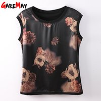 Wholesale silk blouse for summer - GAREMAY Sleeveless Summer Silk Blouse For Women Print Ladies Blouses And Tops Plus Size O Neck Feminine Blouse Woman Tops Flower