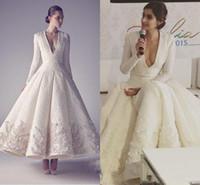 Wholesale sonam kapoor red gowns resale online - Ashi Studio White Vintage Tea Length Prom Dresses Sonam Kapoor Formal V neck Long Sleeve Middle East Arabic Occasion Prom Gowns