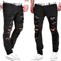 Wholesale Trousers Men Rap - Men Ripped Holes Design Jeans Black Casual Long Pants Spring HIp Hop Rap Street Trousers Pencil Pants