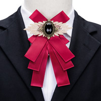 Wholesale free lapel pins for sale - Group buy Men s Burgundy with Black Gem Bow Ties Lapel Pin Enamel Pin Luxury Wedding Party Decoration Freeing shipping LH