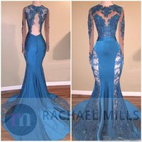 Wholesale Dark Green Natural Jade - 2018 Hunter Jade Prom Dresses Keyhole Jewel Neck Mermaid See Through Long Sleeves Backless Beads Lace Appliques Evening Gowns Party Dresses