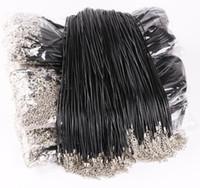 ingrosso cavi neri per ciondoli-Il cavo di cuoio nero della corda del cavo 1.5mm per il regalo della collana del pendente di DIY con la catena di collegamento del catenaccio incanta i monili 100pcs / lot all'ingrosso
