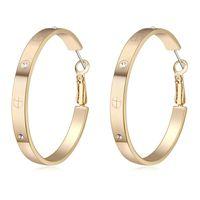 nedime altın küpeleri toptan satış-Altın renk kaplama hoop 4.6 cm hoop küpeler kadınlar için düğün nedime takı 2018 moda hediye