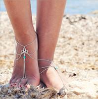 fußschmuck zum verkauf großhandel-Billig Verkauf Einfache Braut Füße Knöchel Armband Kette Strand Urlaub Sexy Bein Kette Weibliche Kristall Fußkettchen Fuß Schmuck Kette Braut Zubehör