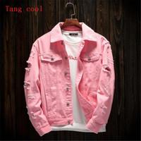 jaqueta jeans verão venda por atacado-Tang cool 2018 primavera e verão novo estilo dos homens buraco solto jeans casaco de manga comprida moda rosa preto vermelho e branco jaqueta