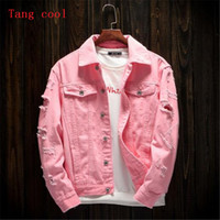 Wholesale jeans jacket cool - Tang cool 2018 spring and summer new style men's hole loose jeans long sleeved coat fashion pink black red and white jacket