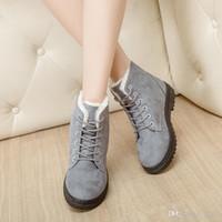 Wholesale plush shoes lady for sale - Winter Lady Short Tube Snow Boots Keep Warm Cotton Padded Shoes Fashion Women Flat Heel Plush Insole cj KK