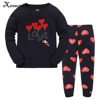 Wholesale kids winter pjs - Xemonale Kids Girls Pajamas Sets Autumn Winter Cartoon Love Sleepwear Pjs Clothing Set Toddler Baby Sleepwear Clothes Size 2-7Y