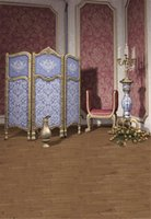 Interior Room Purple Damask Wall Photography Backdrops Printed Chair Flowers Candles Blue Screen Princess Girl Photo Studio Backgrounds