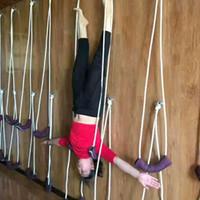 duvar askı ipi toptan satış-Anti-gravit Iyengar Yoga Duvar Halat Tam Set Yoga Yardımcı Duvar Halat İpi Asılı Kemer süspansiyon Sling