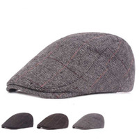 ingrosso tappi strillone-Autunno Inverno Lana Felt Men Newsboy Cappello piatto Ivy Gatsby Cap Warm Berretti maschili Old Man Warm Berretto con visiera Casual Forward Cappelli