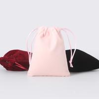 jóias sacos de veludo logo venda por atacado-50 pçs / lote 10 * 14 cm 6 Cores Cor Cosméticos Bolsa De Veludo Logotipo Impresso Cordão Sacos de Presente de Cetim Jóias Embalagem Sacos