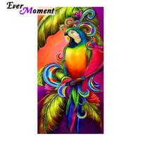 chinesische vogelmalereien großhandel-Immer Moment Chinesische Mosaik Farbe Papagei Wandmalereien 3D Diamant Vögel Bead 5D Kunst Tier Platz Bohrer Diamant Malerei ASF846 Y18102009
