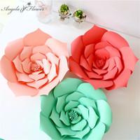 ingrosso carta da mestiere fiori di rose-Fai da te artigianali 30cm rose di carta festa di compleanno di nozze fiore decorazione della finestra parete decorazione di eventi stage layout di sfondo