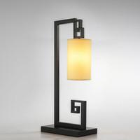 tuch tischlampen großhandel-OOVOV Chinesischen Stil Tuch Schreibtischlampe Kreative Eisen Schlafzimmer Arbeitszimmer Tischleuchte Wohnzimmer Tischlampen