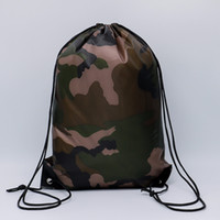 Wholesale soccer drawstring bags resale online - Camouflage Drawstring Bags D Waterproof Drawstring Backpack Camo Gym Bag School Sport Outdoor Shoe Bag OOA5650