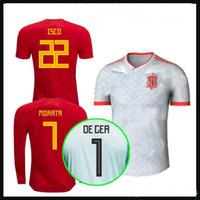 Wholesale spain long sleeve - 2018 Spain soccer jersey away morata ESPANA 18 19 spain home Ramos A.INIESTA camiseta de futbol ASENSIO ISCO long sleeve footbal shirts