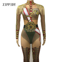 Wholesale nude women costumes online - Military Uniform Sexy Bodysuit One piece Costume Singer Stage Wear Tassel Epalates Jumpsuit Dance WEAR Party Stretch Nude Outfit