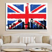 büyük tuval boyama duvar dekor toptan satış-Tuval Boyama Duvar Sanatı Ev Dekor 1 Parça / Adet Londra Big Ben Ile İngiliz Bayrağı Soyut Resimler HD Baskılar Poster Çerçeve