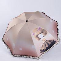 Wholesale girl black lace coat - Fashion Lace Women Umbrella Cartoon Girl 3 Folding Umbrella Anti-UV Black Coating Children Male