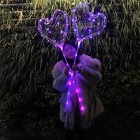 свадебные светящиеся шары оптовых-Новинка светодиодный прозрачный шар для День Святого Валентина ясно Флэш Airballoon 18 дюймов любовь Сердце форма свадебные украшения Светящиеся в темноте