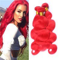 ingrosso estensioni di trama dei capelli ondulate rosse-Tessuto rosso dei capelli umani di Wave dell'onda vergine 3 fasci le estensioni doppie di trama dei capelli del vergine ondulato rosso chiaro Dhl libero