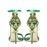 Wholesale wedding shoes sandals crystal heels for sale - Green Luxury Sandals New Fashion Wedding Shoes Summer High Heel Bridal Crystal Shoes Black Stiletto Heel