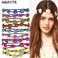 Boho Daisy Hair Bands for Women Hair Accessories New Wreath Headbands Festival Scrunchy Elastic Flower Hair Garland