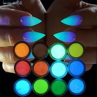 cor pó polonês venda por atacado-12 cores Nail art pigmento glitter unhas mergulho em pó metálico cor polonês gel laca mão holográfica glitter pó