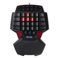 el tel pc toptan satış-Delux T9U Bir El Kablolu Klavye 41 standart tuşları LED el Feneri LOL DOTA 2 Oyun Oyuncu PC Için LED Aydınlatmalı Ile