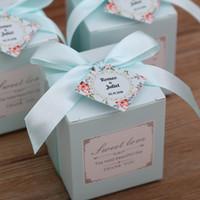 douche nuptiale rose bleu achat en gros de-50 pcs Livraison Gratuite Rose / Tiffany Bleu Anniversaire Faveur De Mariage Boîtes De Bonbons Bridal Shower Party Papier Cadeau Boîte
